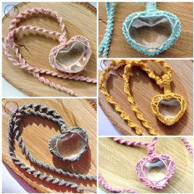 Clear Quartz Heart Macrame Necklace